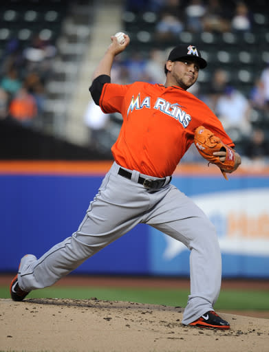 Miami Marlins starting pitcher Henderson Alvarez throws against the New York Mets in the first inning of Game 1 of a doubleheader baseball game at Citi Field,Saturday, Sept. 14, 2013, in New York. (AP Photo/Kathy Kmonicek)