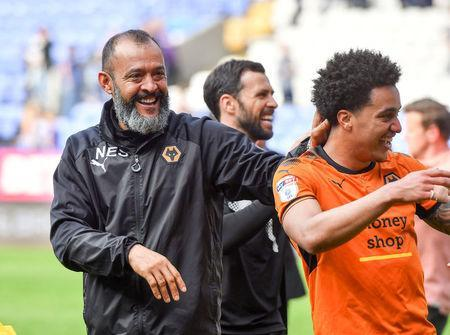 Soccer Football - Championship - Bolton Wanderers v Wolverhampton Wanderers - Macron Stadium, Bolton, Britain - April 21, 2018 Wolverhampton Wanderers manager Nuno Espirito Santo celebrates winning the Championship Action Images/Paul Burrows