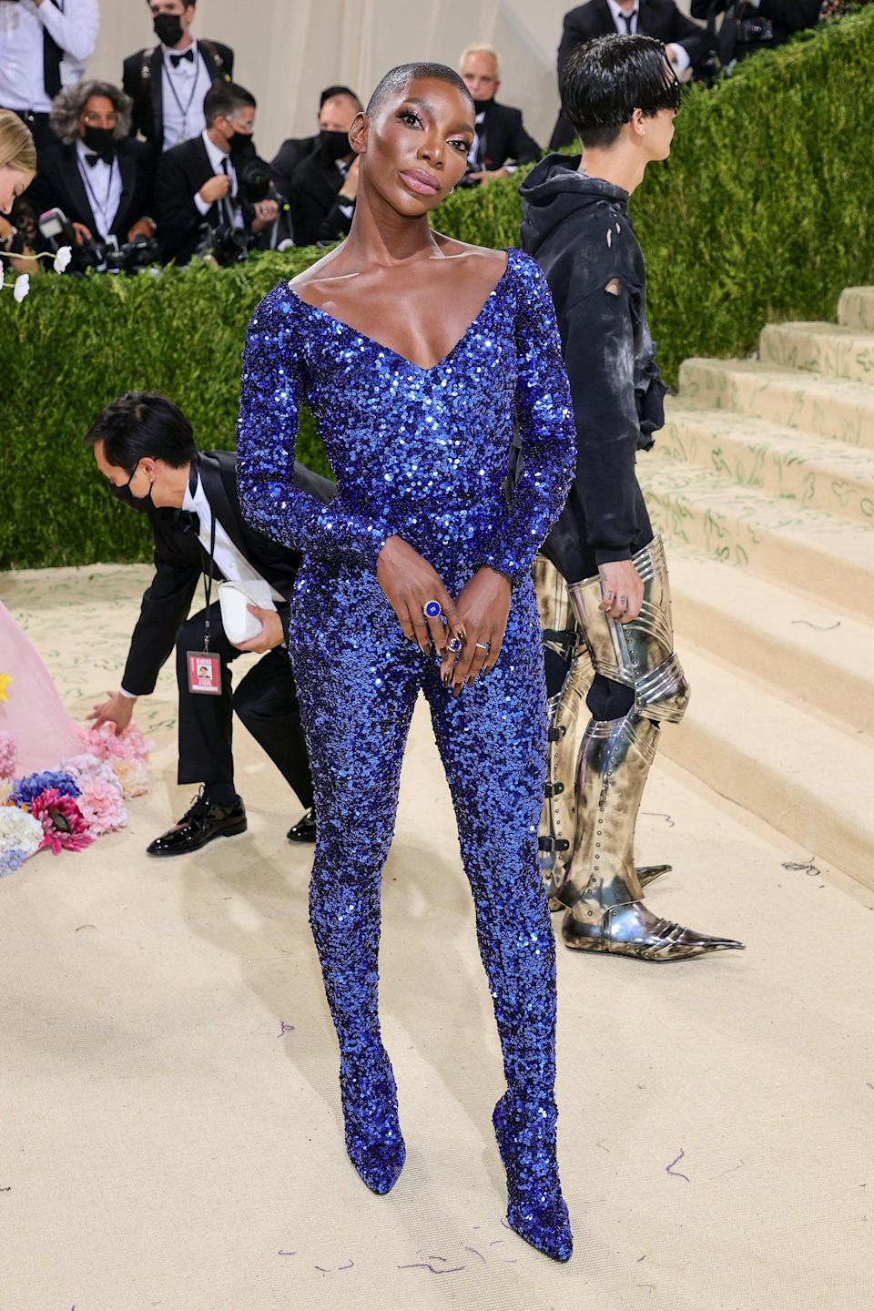 """<h2>Michaela Coel </h2><br>Patriotic blue never looked so good. <span class=""""copyright"""">Photo: Theo Wargo/Getty Images.</span>"""