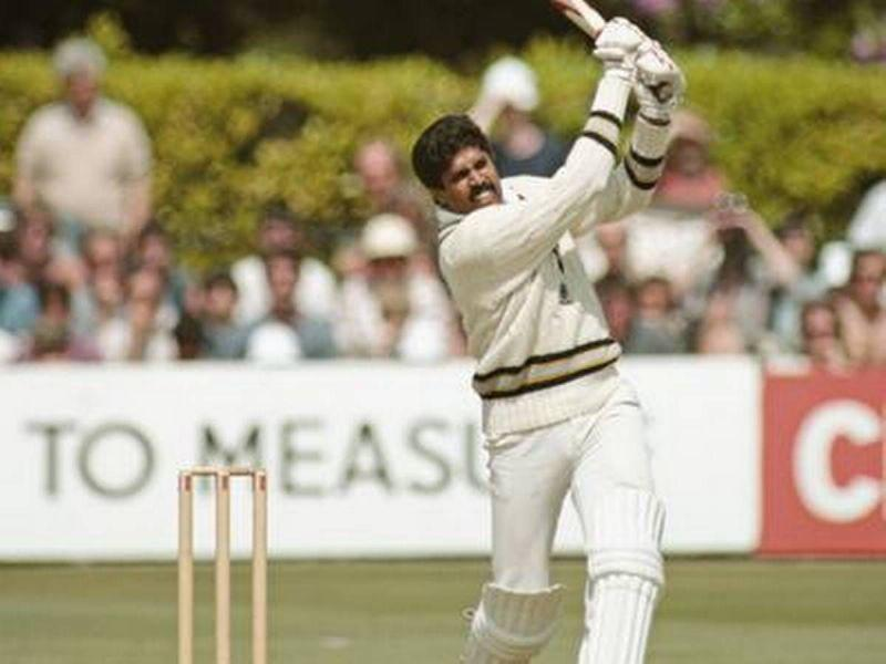 Kapil Dev in action for India