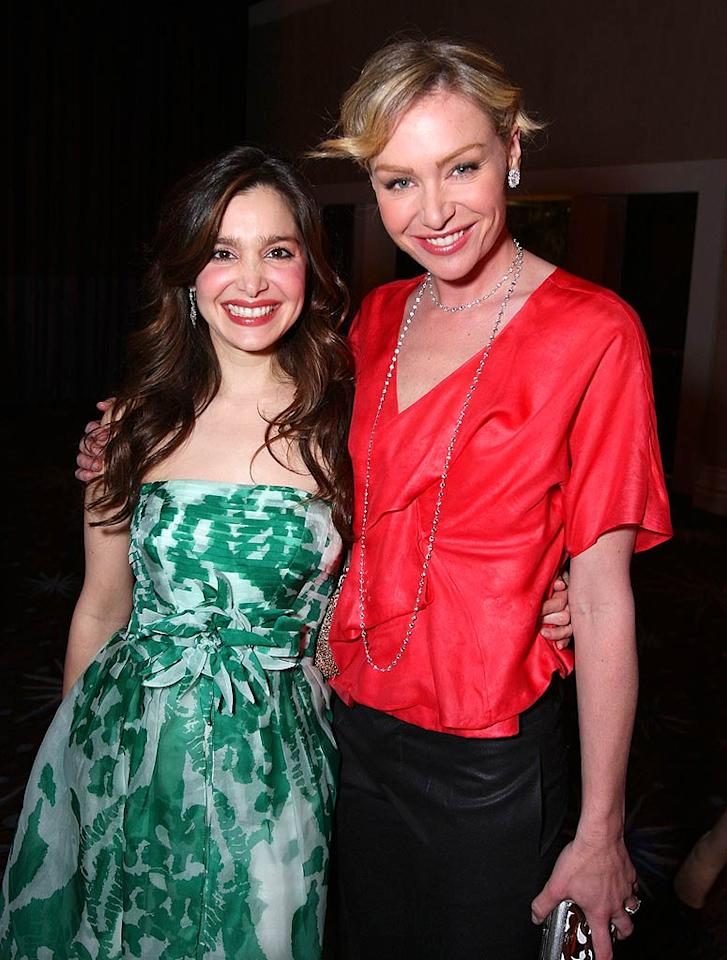 """Actresses Gina Philips and Portia de Rossi were all smiles at the 16th annual Alzheimer's benefit, """"A Night at Sardi's,"""" held at the Beverly Hilton in Beverly Hills. John Shearer/<a href=""""http://www.wireimage.com"""" target=""""new"""">WireImage.com</a> - March 5, 2008"""