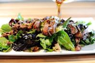 """<p>This Asian-inspired steak salad relies on ingredients you likely already have in your pantry and fridge. A mix of soy sauce, sherry, garlic, and brown sugar keeps things interesting and sophisticated.</p><p><strong><a href=""""https://www.thepioneerwoman.com/food-cooking/recipes/a9506/ginger-steak-salad/"""" rel=""""nofollow noopener"""" target=""""_blank"""" data-ylk=""""slk:Get the recipe"""" class=""""link rapid-noclick-resp"""">Get the recipe</a>.</strong></p><p><a class=""""link rapid-noclick-resp"""" href=""""https://go.redirectingat.com?id=74968X1596630&url=https%3A%2F%2Fwww.walmart.com%2Fip%2FThe-Pioneer-Woman-Cowboy-Rustic-14-Piece-Forged-Cutlery-Knife-Block-Set-Turquoise%2F53967703&sref=https%3A%2F%2Fwww.thepioneerwoman.com%2Ffood-cooking%2Fmeals-menus%2Fg35191871%2Fsteak-dinner-recipes%2F"""" rel=""""nofollow noopener"""" target=""""_blank"""" data-ylk=""""slk:SHOP KNIVES"""">SHOP KNIVES</a></p>"""