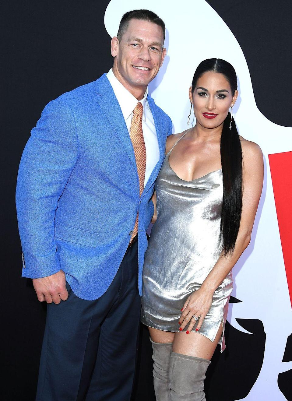 """<p>Bella and Cena went on their first date in 2012, and he proposed in 2017 after many bumps in between. The couple split in April 2018 and <a href=""""https://www.usmagazine.com/celebrity-news/news/nikki-bella-john-cena-back-together-after-calling-off-wedding/"""" rel=""""nofollow noopener"""" target=""""_blank"""" data-ylk=""""slk:allegedly got back together"""" class=""""link rapid-noclick-resp"""">allegedly got back together </a>the month after that. They have both <a href=""""https://www.usmagazine.com/celebrity-news/news/nikki-bellas-boyfriend-artem-chigvintsev-calls-her-his-soul-mate/"""" rel=""""nofollow noopener"""" target=""""_blank"""" data-ylk=""""slk:moved on"""" class=""""link rapid-noclick-resp"""">moved on</a> since then. Bella <a href=""""https://www.today.com/popculture/nikki-bella-engaged-artem-chigvintsev-see-ring-t171094"""" rel=""""nofollow noopener"""" target=""""_blank"""" data-ylk=""""slk:is now engaged"""" class=""""link rapid-noclick-resp"""">is now engaged</a> to professional dancer Artem Chigvintsev.</p>"""