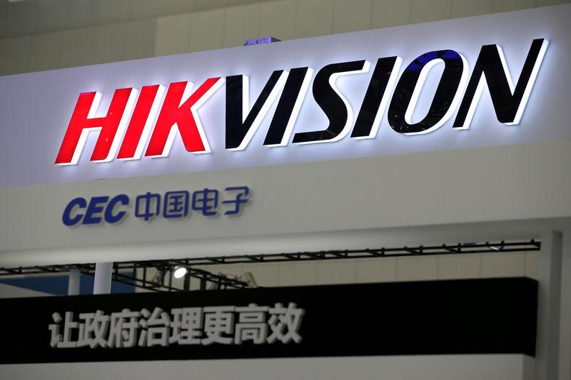 FILE PHOTO: A Hikvision logo is seen at an exhibition during the World Intelligence Congress in Tianjin