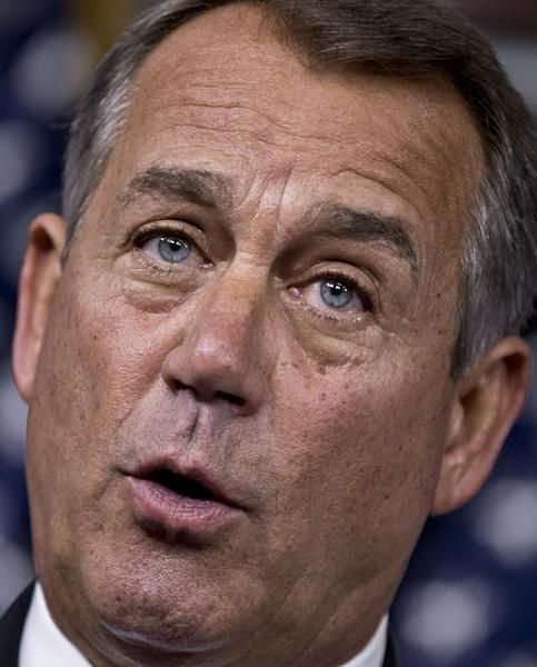 Speaker of the House John Boehner, R-Ohio, meets with reporters as Congress prepares to shut down until after the elections in November, on Capitol Hill in Washington, Friday, Sept. 21, 2012. (AP Photo/J. Scott Applewhite)