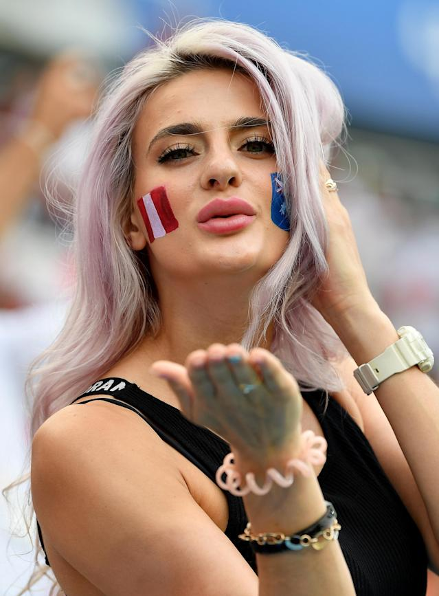 <p>A fan looks on during the 2018 FIFA World Cup Russia group C match between Australia and Peru at Fisht Stadium on June 26, 2018 in Sochi, Russia. (Photo by Stuart Franklin – FIFA/FIFA via Getty Images) </p>