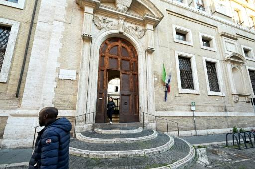 A man walks past the main entrance of Rome's famous Visconti classics secondary school