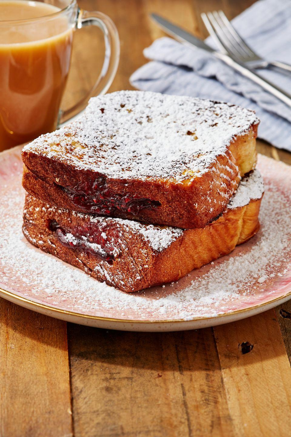 """<p>This is an immediately iconic mash-up.</p><p>Get the recipe from <a href=""""https://www.delish.com/cooking/recipe-ideas/a31134887/jelly-donut-french-toast-recipe/"""" rel=""""nofollow noopener"""" target=""""_blank"""" data-ylk=""""slk:Delish."""" class=""""link rapid-noclick-resp"""">Delish. </a></p>"""