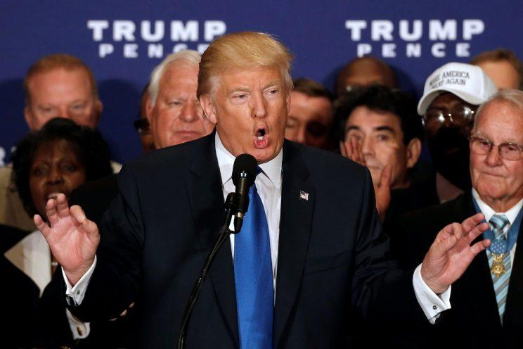 Donald Trump states that he believes President Obama was born in the United States at a campaign event in Washington, D.C., Sept. 16, 2016. (Mike Segar/Reuters)