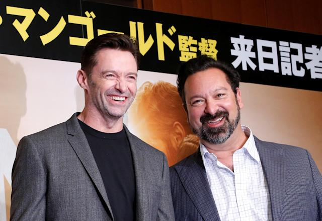 "Actor Hugh Jackman (L) and director James Mangold attend a news conference for their movie ""Logan"" in Tokyo, Japan May 25, 2017. REUTERS/Kim Kyung-Hoon"