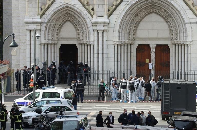The church killings come after the October 16 beheading of a history teacher Samuel Paty by an extremist in a Paris suburb after he showed pupils cartoons of the Prophet Mohammed in a free speech lesson