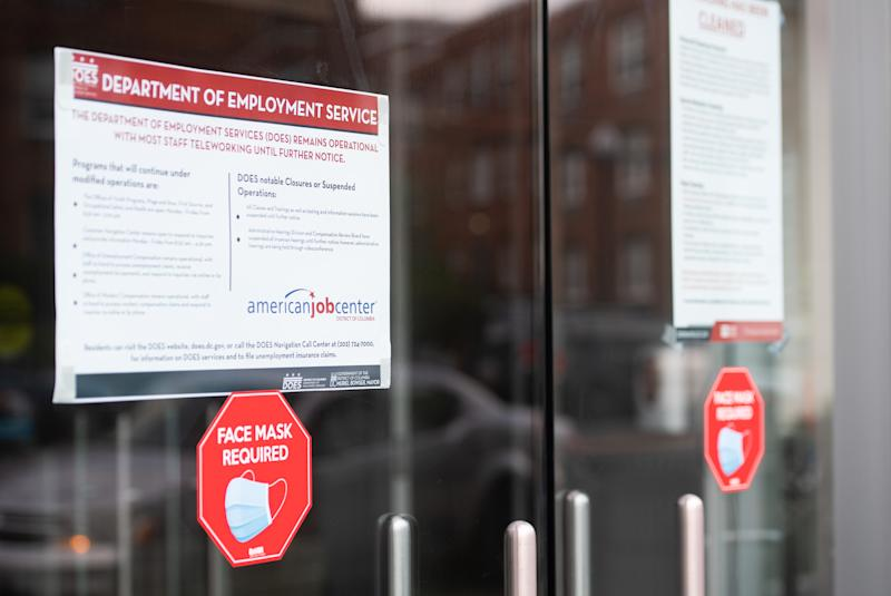 The DC Department of Employment Services, which handles unemployment claims for DC residents, is seen in Washington, DC, July 16, 2020. - Americans worry as unemployment benefits are due to end soon. (Photo by SAUL LOEB / AFP) (Photo by SAUL LOEB/AFP via Getty Images)