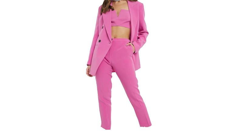 ASOS DESIGN pop slim suit blazer and trousers in pink