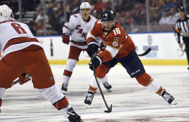 Florida Panthers center Aleksander Barkov (16) bring the puck up the ice during the first period of an NHL hockey game against the Carolina Hurricanes. Tuesday, Oct. 8, 2019, in Sunrise, Fla. (AP Photo/Jim Rassol)