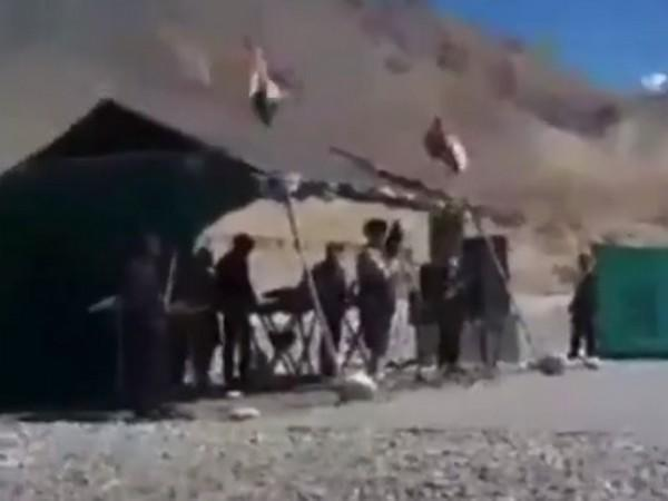 Tibetan soldiers singing a patriotic song for India at Eastern Ladakh on Friday.