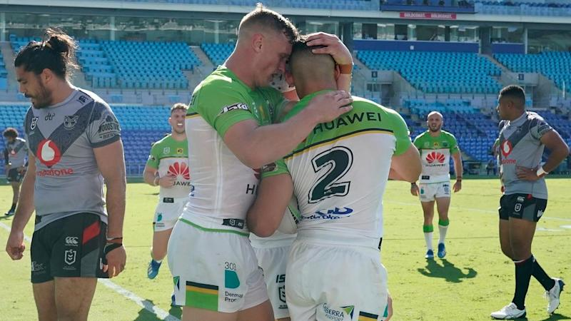 Canberra have scored four tries to beat the Warriors 20-6 in their NRL match on the Gold Coast