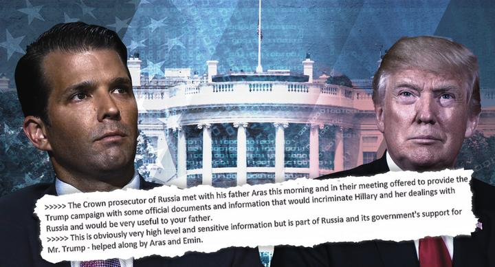 An illustration showing Donald Trump Jr., an excerpt from an email, and President Trump
