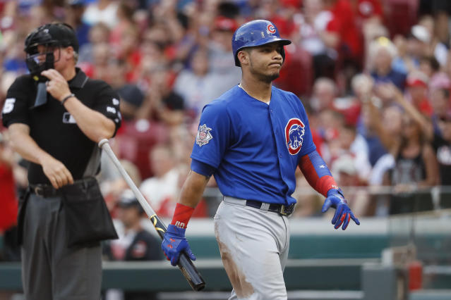 "<a class=""link rapid-noclick-resp"" href=""/mlb/players/10166/"" data-ylk=""slk:Willson Contreras"">Willson Contreras</a> had some potentially embarrassing messages leak Tuesday. (AP Photo)"