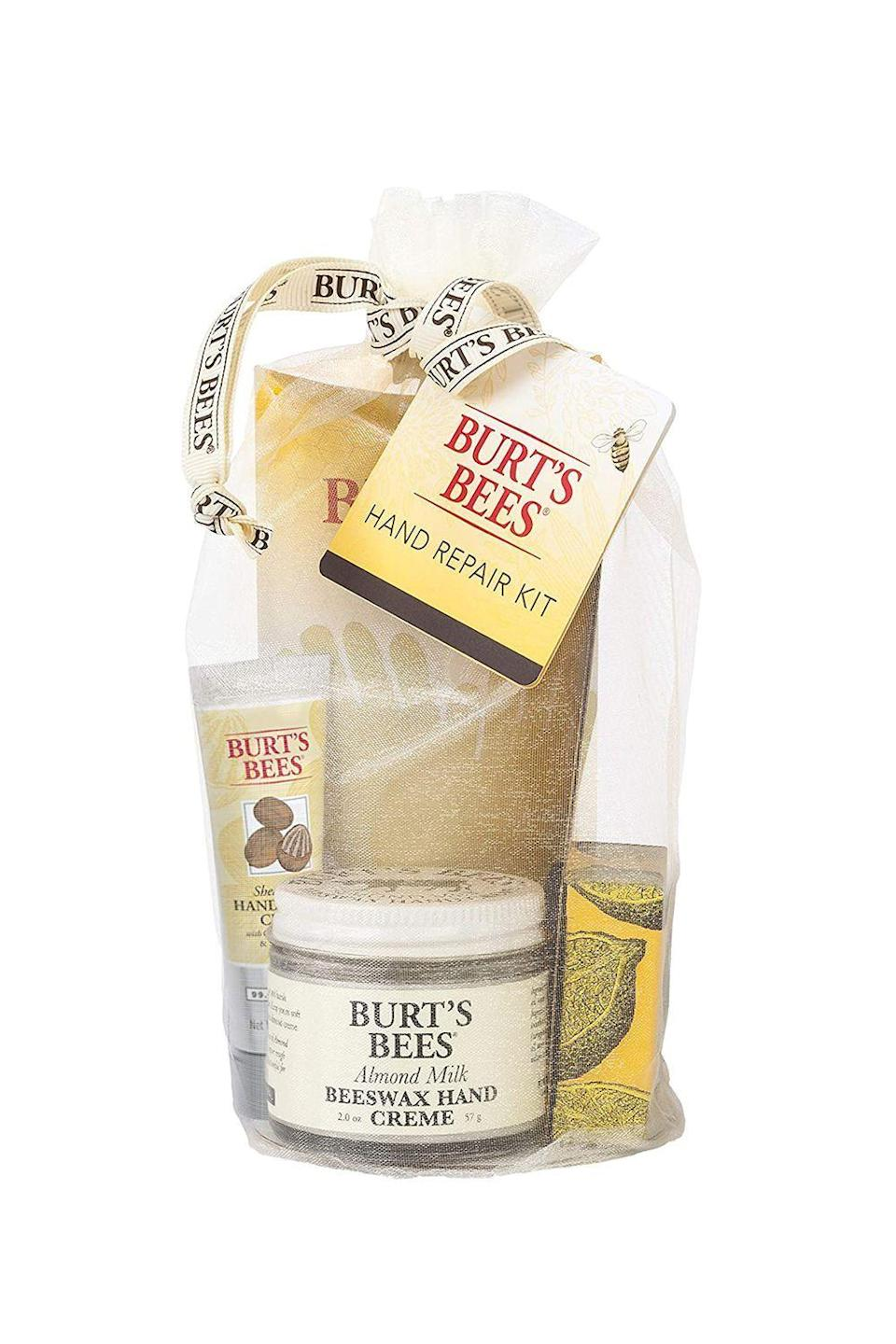 "<p><strong>Burt's Bees</strong></p><p>amazon.com</p><p><strong>$13.96</strong></p><p><a href=""https://www.amazon.com/dp/B0009F3R7E?tag=syn-yahoo-20&ascsubtag=%5Bartid%7C10072.g.26787035%5Bsrc%7Cyahoo-us"" rel=""nofollow noopener"" target=""_blank"" data-ylk=""slk:SHOP NOW"" class=""link rapid-noclick-resp"">SHOP NOW</a></p><p>Between all of those diaper changes and her dutiful effort to stay germ-free, chances are her hands are taking a beating this winter. This soothing gift set, which includes three nourishing creams and a set of gloves to let everything soak in, will do just the trick to keep her hands looking and feeling good. This also makes a great addition to a gift basket.</p>"