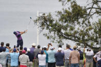 Rory McIlroy, of Northern Ireland, plays his shot from the fourth tee during the third round of the U.S. Open Golf Championship, Saturday, June 19, 2021, at Torrey Pines Golf Course in San Diego. (AP Photo/Jae C. Hong)