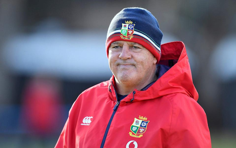 Lions Head Coach, Warren Gatland during the British and Irish Lions training session at Hermanus High School on July 20, 2021 in Hermanus, South Africa. - GETTY IMAGES