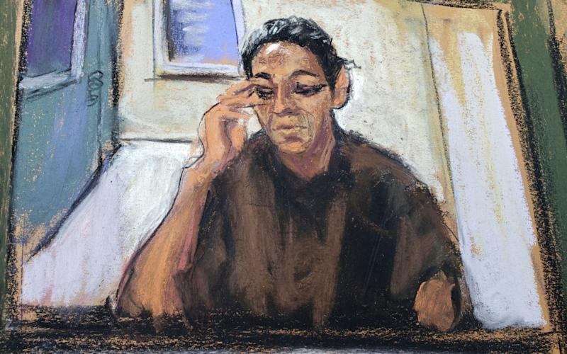 Ghislaine Maxwell sketched during her video-link arraignment on Monday - Reuters