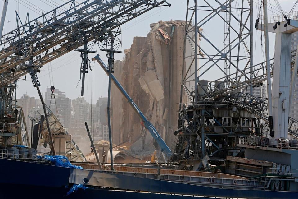 A heavily damaged silo and other structures at the city's port: Getty