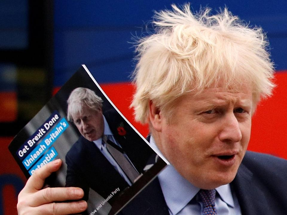 Johnson arrives for the Conservative Party's manifesto launch in Telford on Sunday: Reuters