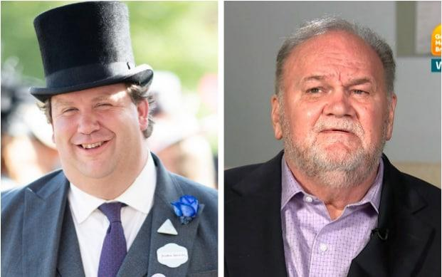 PR Johnno Spence, pictured left, wearing Thomas Markle's wedding suit