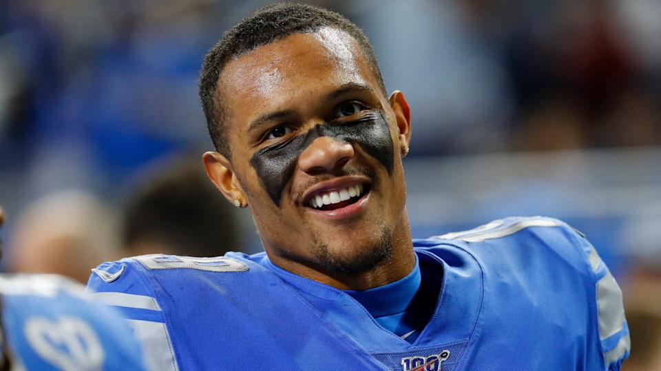 Mandatory Credit: Photo by Paul Sancya/AP/Shutterstock (10457743kv)Detroit Lions wide receiver Kenny Golladay smiles during an NFL football game against the New York Giants in DetroitGiants Lions Football, Detroit, USA - 27 Oct 2019.