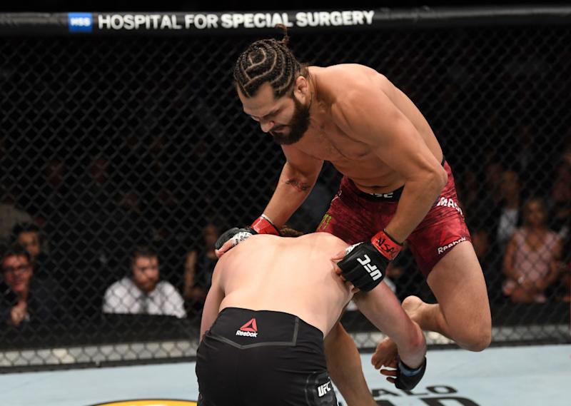 Jorge Masvidal won multiple 'Knockout of the Year' awards for this knee on Ben Askren in their welterweight fight during the UFC 239 event at T-Mobile Arena on July 6, 2019 in Las Vegas, Nevada. (Getty Images)