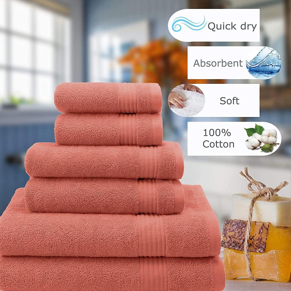 <p>Made with heavyweight cotton, the extra soft <span>Hotel &amp; Spa Quality Absorbent &amp; Soft Turkish Cotton 6 Piece Towel Set</span> ($40) is perfect if you're looking for that plush feeling. </p>