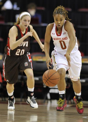 Maryland's Sequoia Austin, right, runs a fast break as Brown's Ellise Sharpe gives chase in the first half of an NCAA college basketball game, Friday, Dec. 28, 2012, in College Park, Md. Maryland won 76-36.(AP Photo/Gail Burton)