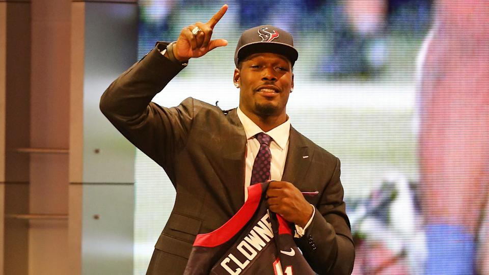 Mandatory Credit: Photo by Gregory Payan/AP/Shutterstock (6016759az)Jedeveon Clowney Jadeveon Clowney is seen on stage with his jersey after being selected first by the Houston Texans at the 2014 NFL Draft at Radio City on Thursday, May 8th, 2014 in New York, NY2014 NFL Draft, New York, USA.