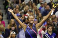 Leylah Fernandez, of Canada, reacts after defeating Naomi Osaka, of Japan, during the third round of the US Open tennis championships, Friday, Sept. 3, 2021, in New York. (AP Photo/John Minchillo)