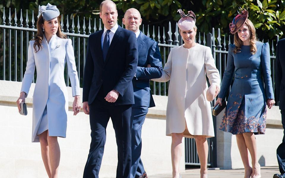 The Duke and Duchess of Cambridge, Mike and Zara Tindall and Princess Beatrice on Easter Sunday in 2019