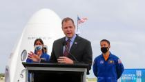 NASA Administrator Jim Bridenstine speaks at a pre-launch news conference as a SpaceX Falcon 9 rocket is readied in Cape Canaveral