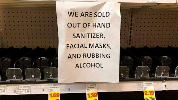 PHOTO:A sign advising out of stock sanitizer, facial masks and rubbing alcohol is seen at a store following warnings about coronavirus in Kirkland, Wash., March 5, 2020. (Jason Redmond/AFP/Getty Images)