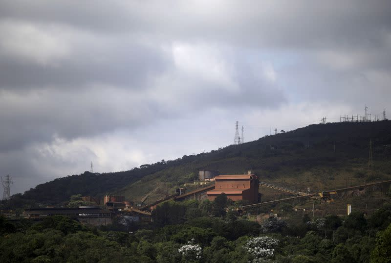 FILE PHOTO: A general view of the work site of a iron ore mine operated by Samarco owned by Vale SA and BHP Billiton Ltd in Mariana