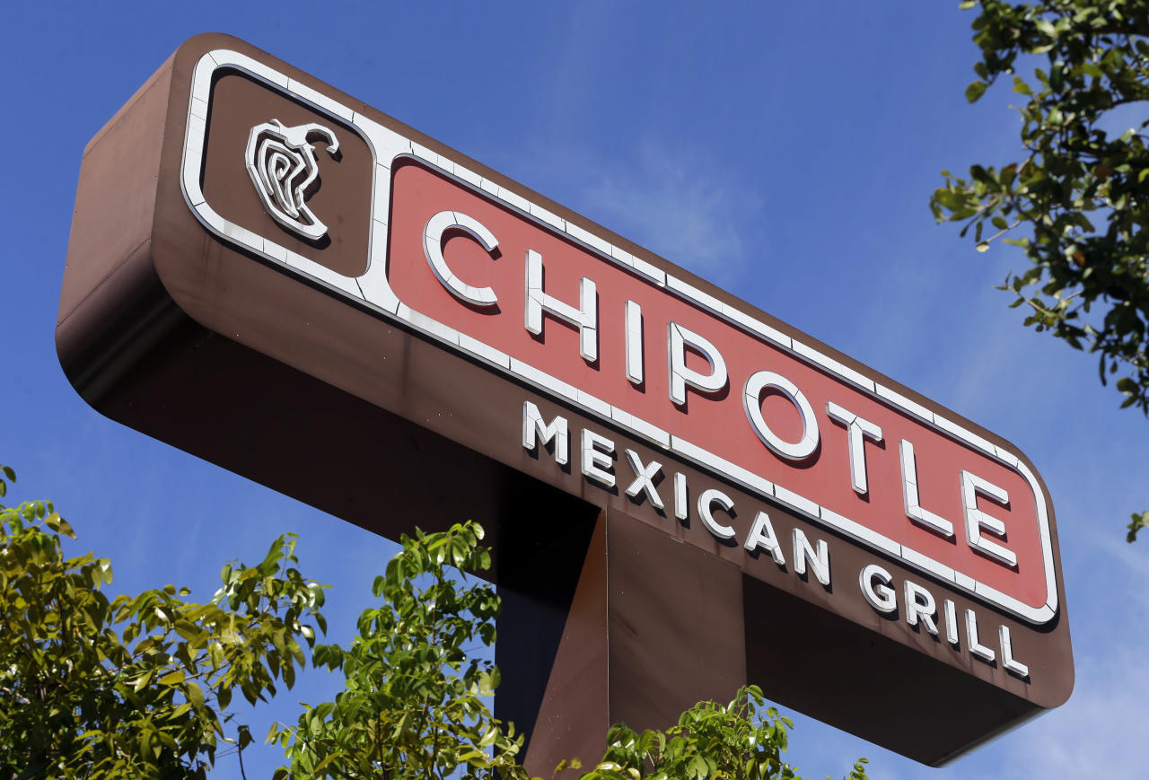 <p> FILE - This Monday, Feb. 8, 2016, file photo shows the sign of a Chipotle restaurant in Hialeah, Fla. Chipotle is offering free kid's meals on Sundays during the month of September 2016, another attempt to lure back customers spooked by a series of food scares. An E. coli outbreak in 2015 sent Chipotle sales plunging. (AP Photo/Alan Diaz, File) </p>