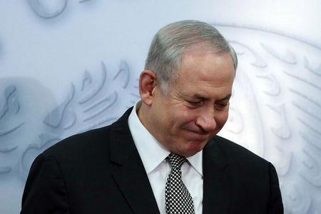 Israeli Prime Minister Benjamin Netanyahu reacts as he addresses the media at Los Pinos presidential residence in Mexico City, Mexico, September 14, 2017. REUTERS/Edgard Garrido