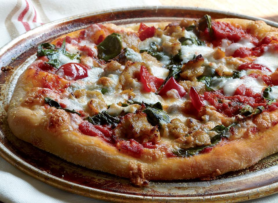 Healthy spinach sausage pepper pizza