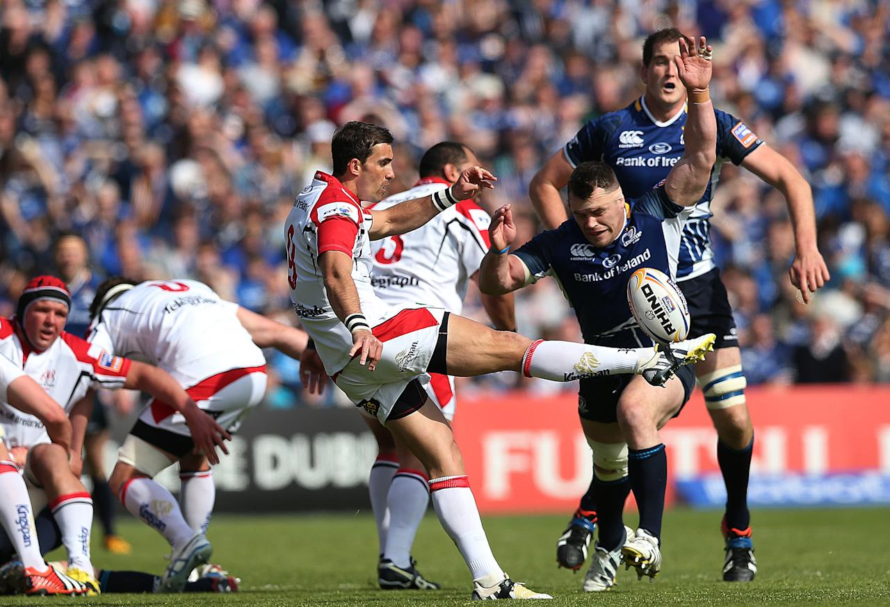 Leinster's Cian Healy attempts to block Ulster's Ruan Pienaar during the RaboDirect PRO12 Final at the RDS, Dublin, Ireland.