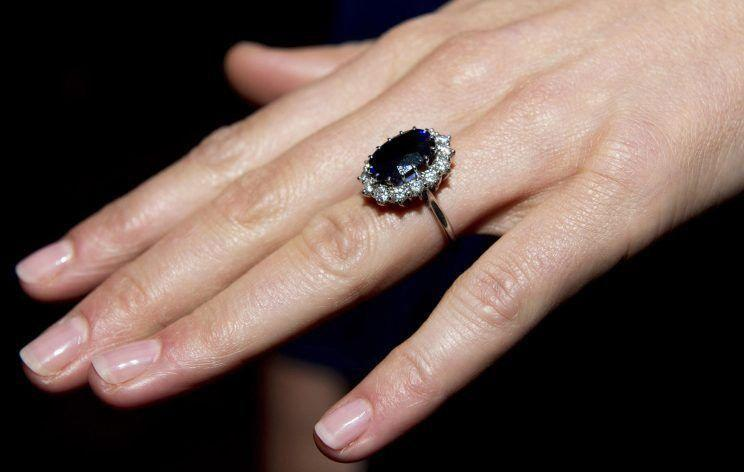 A closeup of Kate Middleton's engagement ring. Photo: Getty.