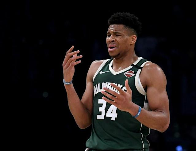 Say what? The Milwaukee Bucks say an investigation is underway after the social media accounts of NBA MVP Giannis Antetokounmpo were hacked (AFP Photo/Harry How)