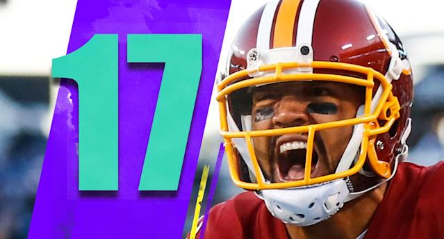 <p>For most of Saturday's game it looked like the Redskins would go on the road with their fourth quarterback of the season, and injuries everywhere else in the lineup, and knock off the Titans. Tennessee won it late, but it's still impressive what Jay Gruden and his staff have done late in the season. (Michael Floyd) </p>