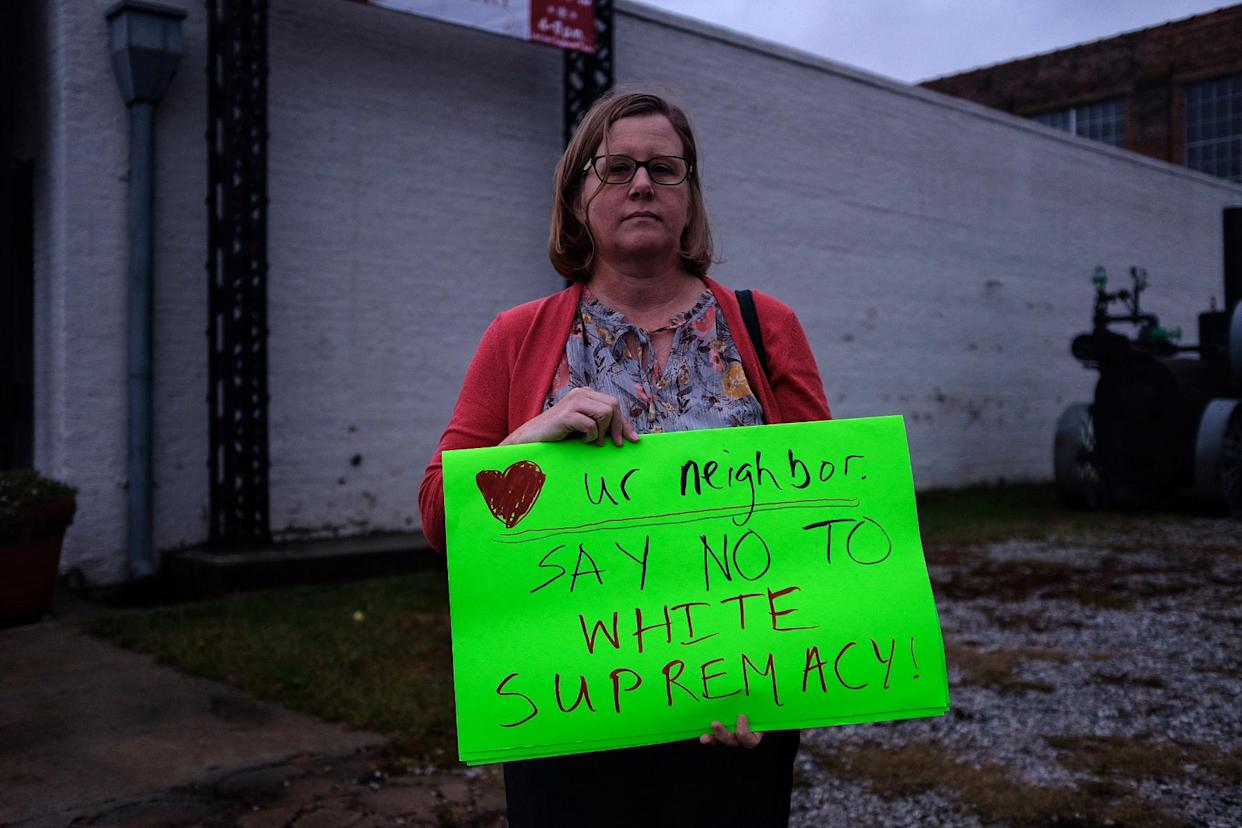 Laura Franey of Ridgeland, Miss., protests outside a campaign event for Sen. Cindy Hyde-Smith in Meridian, Miss. (Photo: Holly Bailey/Yahoo News)