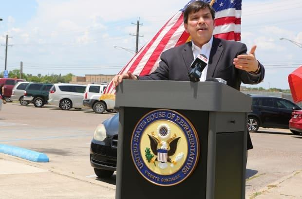 Vicente Gonzalez, seen here at an August 2020 press conference, serves a Texas-Mexico border community in the House of Representatives, and says the U.S. should lift its ban on the export of COVID-19 vaccines.
