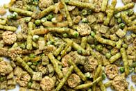"This crispy-crunchy, spicy, sweet-and-savory snack mix is almost as green as the turf on a football field, so it's perfect for munching while you watch the game. <a href=""https://www.epicurious.com/recipes/food/views/turf-mix?mbid=synd_yahoo_rss"" rel=""nofollow noopener"" target=""_blank"" data-ylk=""slk:See recipe."" class=""link rapid-noclick-resp"">See recipe.</a>"