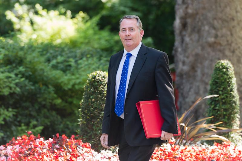 LONDON, UNITED KINGDOM - JULY 23: Secretary of State for International Trade and President of the Board of Trade Liam Fox arrives for Theresa May's final cabinet meeting as Prime Minister at 10 Downing Street on 23 July, 2019 in London, England. Today's announcement of a new Conservative Party leader and prime minister, most likely Boris Johnson, is expected to trigger ministerial resignations from critics of the no-deal Brexit approach ahead of a major Cabinet reshuffle. (Photo credit should read Wiktor Szymanowicz / Barcroft Media via Getty Images)
